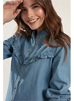 Pattaya Pattaya Kadın Çıt Çıtlı Uzun Kol Kot Gömlek Y20S110-3799